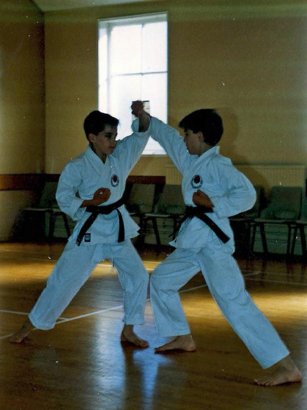 Drew and Jonathan Scott Practicing Karate