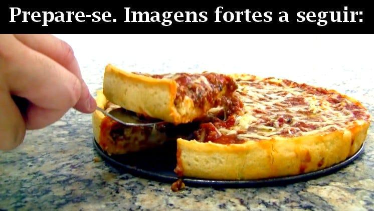 Sim. É uma pizza, é real, é de comer e dá pra fazer em casa (Fonte: YouTube)