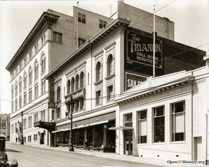 Black and white photo of the exterior of the ball room that became the Avalon.