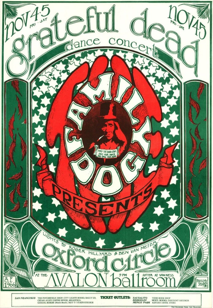 Colorful illustrated poster for the Grateful Dead at the Avalon ballroom.