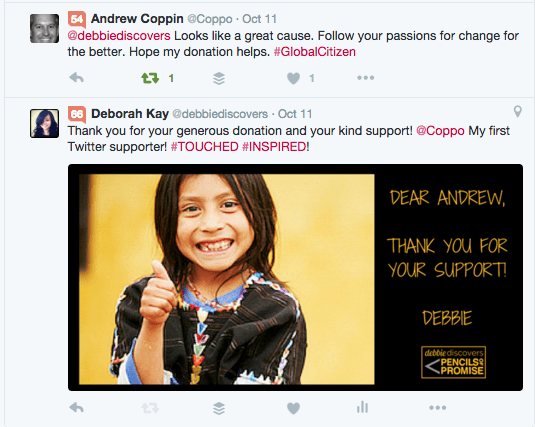 Tweet from Andrew Coppin after his generous donation