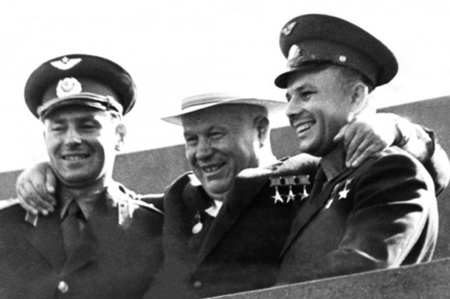 Soviet leader Nikita Khrushchev with Gherman Titov and Yuri Gagarin (credit: wiki commons)
