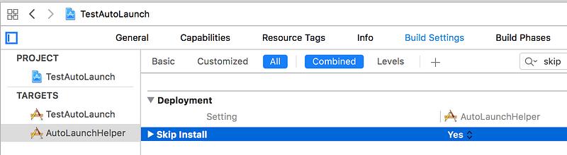 Build Setting of the Helper App