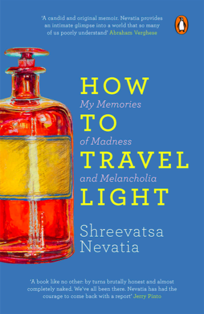The cover of How to Travel Light. Yellow text on a blue background, with a red glass pill bottle on the left