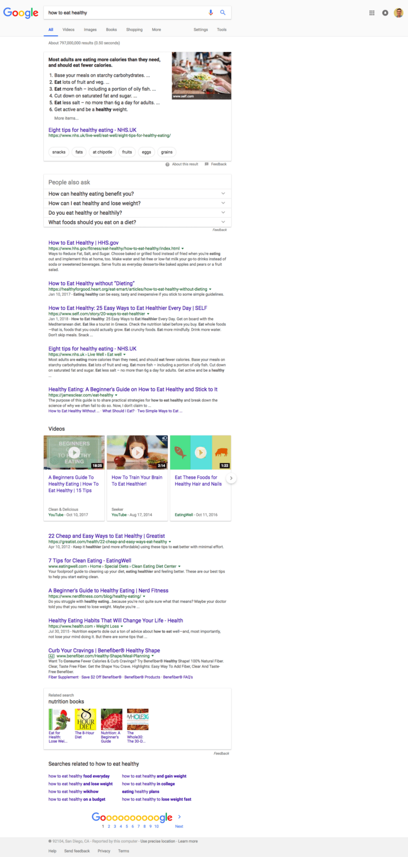 "Full-page screenshot of the Google Search results for the search term ""how to eat healthy"""