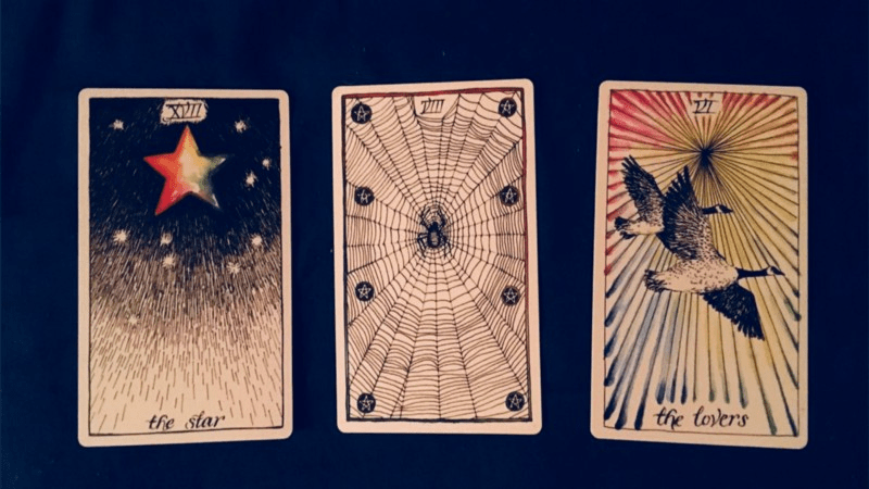 Three tarot cards on a dark blue background. The card on the left, 'The Star', shows a rainbow coloured star radiating light. The card in the middle displays a cobweb with a spider in the centre. The card to the right, 'The Lovers', features two Canada geese flying together, with radiating colourful lines in the background.