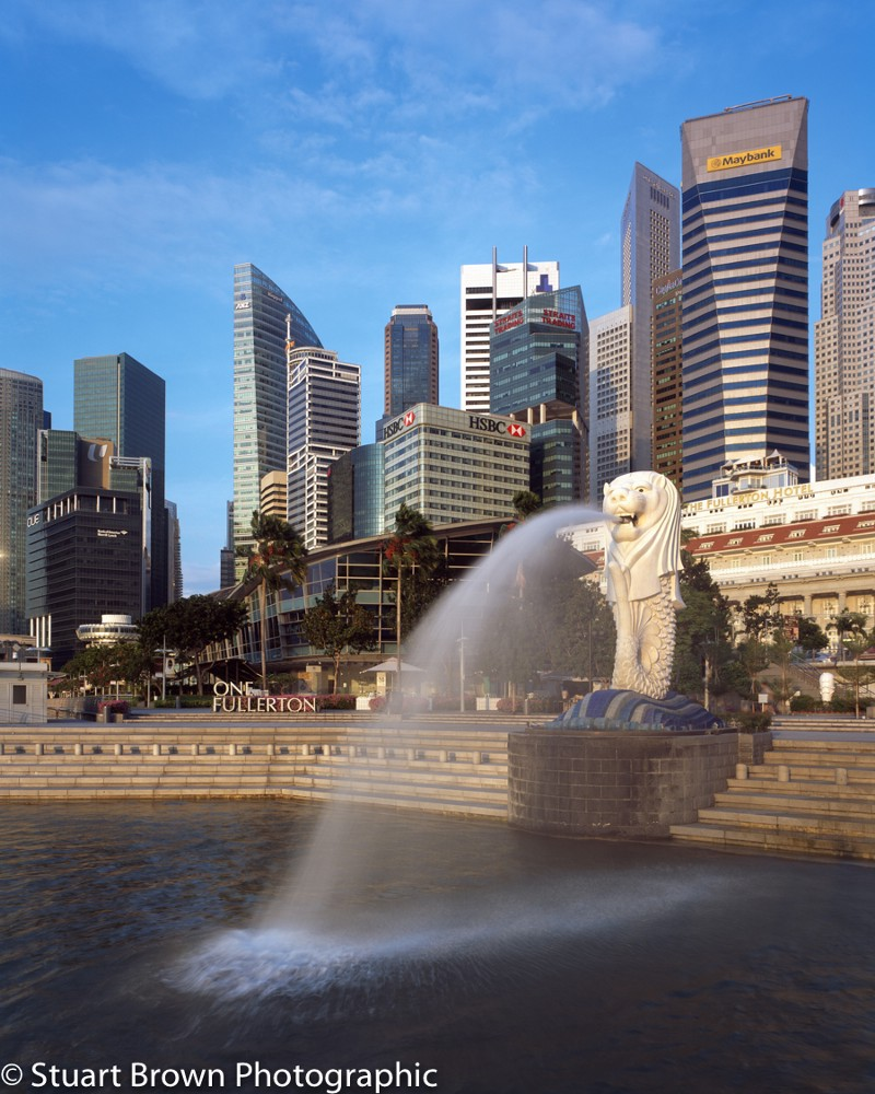 Singapore Merlion shot using the shift movement on a large format camera to eliminate vertical perspective and control the foreground