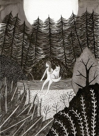 Description: A black and white illustration of a forest. In the centre, a person with long hair sits on a log of wood, a fox beside them, beneath a full moon.