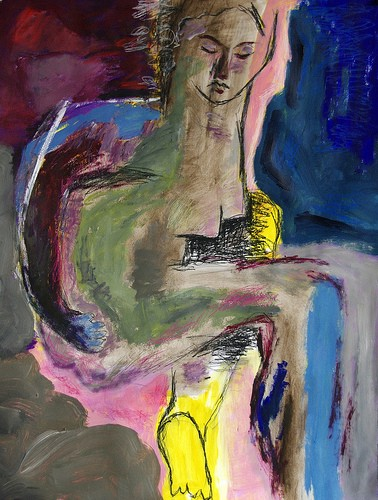 An abstractly painted nude figure sitting down. They look downwards with a serious expression. The painting is in shades of pink, blue, brown and yellow.