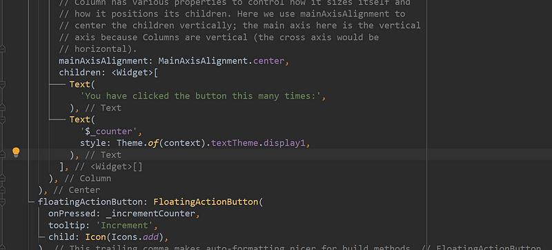 Porzione di codice dove viene definito il testo della schermata principale