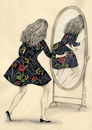 A drawing of a person standing before a mirror, with their back to us. They look frozen in motion, and their reflection in the mirror appears to be running away. They wear a black dress with a floral pattern.