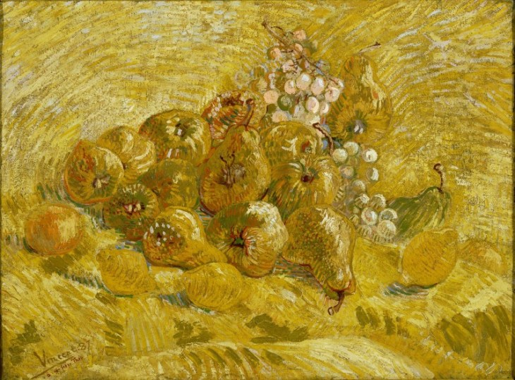All shades of yellow, with blue, orange, green and more. Quinces, Vincent van Gogh [Public domain], via Wikimedia Commons