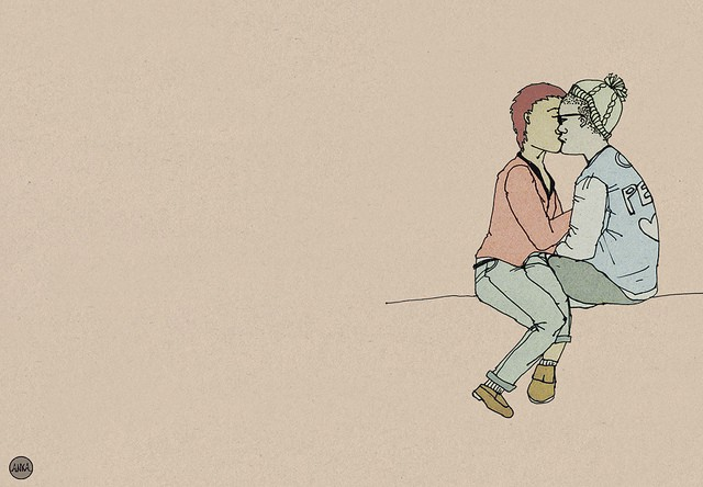 Description: To the right of the image we see two people kissing, drawn against a peach coloured background. One wears jeans and has short red hair, the other wears a beanie.