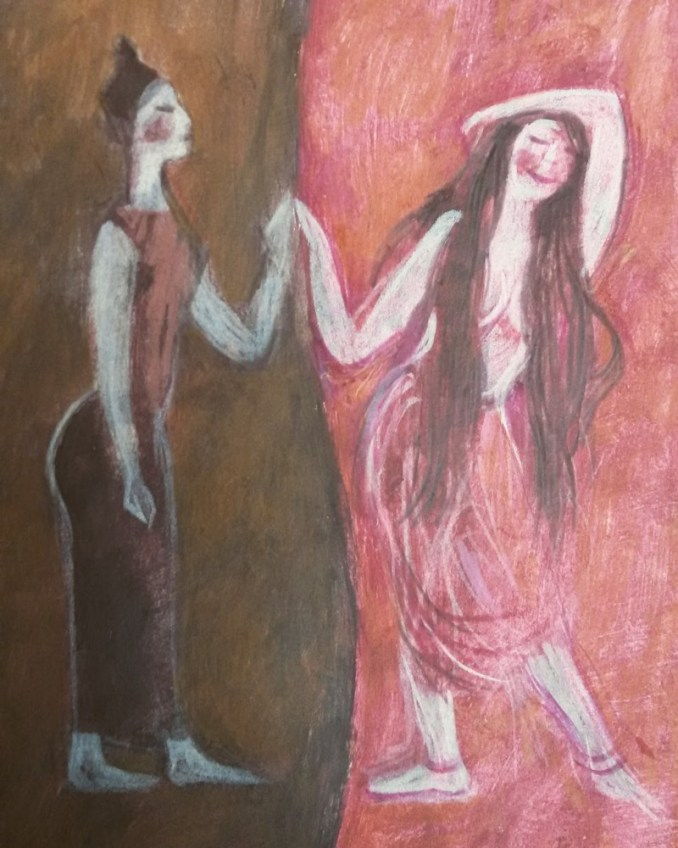 The painting depicts two figures. To the left, against a dark brown background and wearing brown clothing and an upright stance, is a figure with their hair in a high bun. They touch hands with a figure to the right, against a rosy background, whose long hair is undone, and who strikes a pose of abandon.