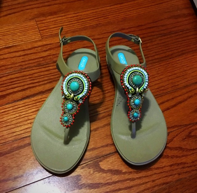 Oka-B sandals beige with turquoise stones and beading