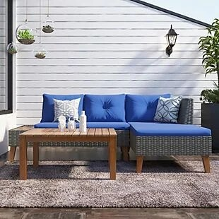 Patio Sectional Set with Wood Table $394