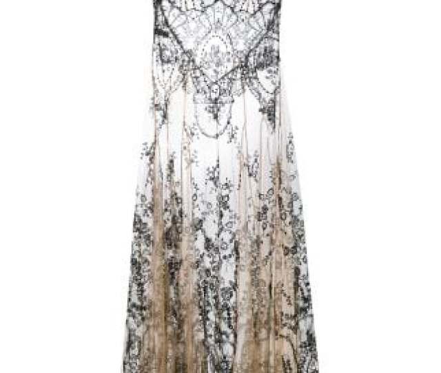 I D Sarrieri Floral Embroidery Sheer Nightgown