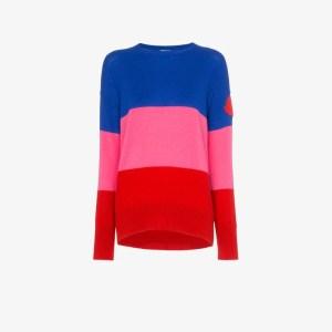 Moncler Womens 455 Blue Pink Red Stripe Logo Patch Cashmere Jumper