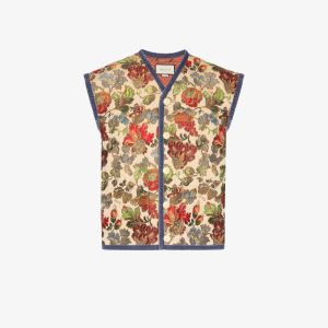 Gucci Mens Neutrals Floral Embroidered Vest
