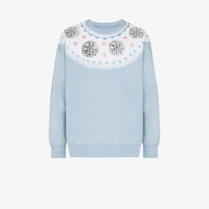 Visvim Mens Blue Koch Fair Isle Print Cotton Sweatshirt