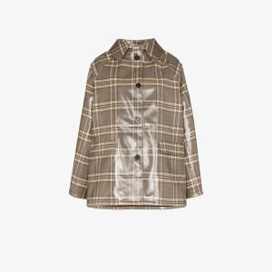 Kassl Womens Brown Editions Checked Patent Coat