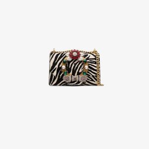 Miu Miu Womens Multicolour White Zebra Embellished Leather Shoulder Bag