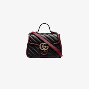Gucci Womens Black Gg Marmont Top Handle Bag