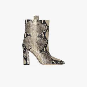 Paris Texas Womens Neutrals Neutral 100 Snake Print Leather Ankle Boots