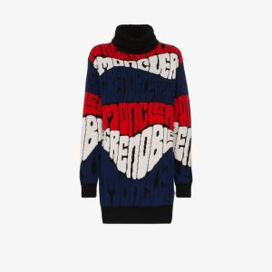Moncler Grenoble Womens Black Logo Intarsia Knit Sweater