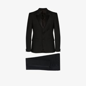 Givenchy Mens Black Single-breasted Wool Blend Suit