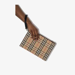 Burberry Mens Neutrals Brown Vintage Check Cotton Pouch
