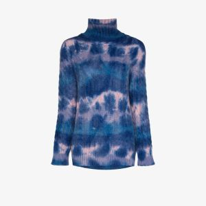 Moncler Grenoble Womens Blue Turtleneck Knit Sweater