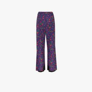 Moncler Grenoble Womens Purple Floral Print Flared Ski Trousers
