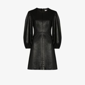 Tibi Womens Black Puff Sleeve Faux Leather Dress
