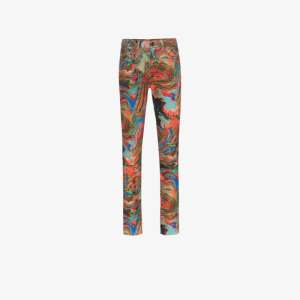 R13 Womens Red X Alison Mosshart Marbled Skinny Jeans