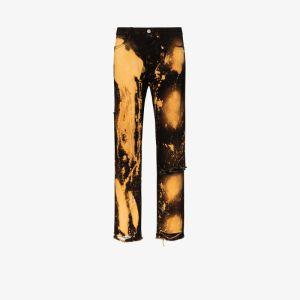 424 Mens Black Tie-dye Straight Leg Jeans