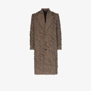 Y/project Mens Brown Slashed Wool And Linen Single-breasted Coat