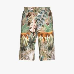 Endless Joy Mens Green Equatorial Jungle Printed Shorts