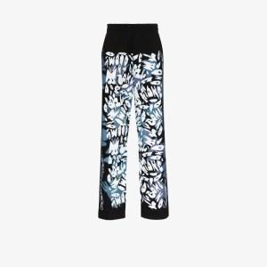 Liam Hodges Mens Blue X Alfie Kungu Jazzie Printed Cotton Trousers