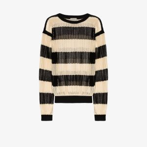 Bed J.w. Ford Mens Black Open Knit Striped Sweater