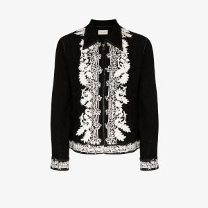 Bed J.w. Ford Mens Black Indian Embroidery Shirt Jacket
