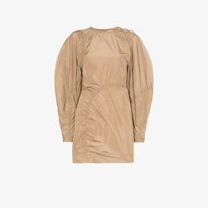 Ganni Womens 185 Tannin Ruched Detail Mini Dress
