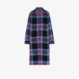 Charles Jeffrey Loverboy Womens Blue Doctors Tartan Trench Coat