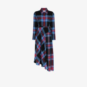 Charles Jeffrey Loverboy Womens Blue Asymmetric Check Shirt Dress