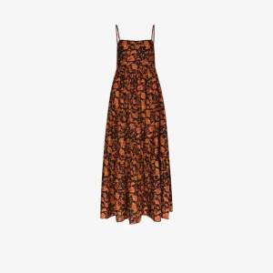 Matteau Womens Black Printed Square Neck Cotton Maxi Dress