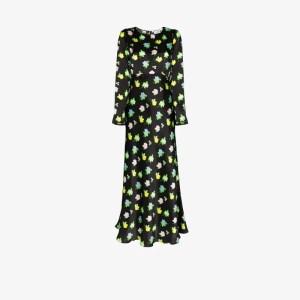 Bernadette Womens Black Jane Floral Silk Maxi Dress