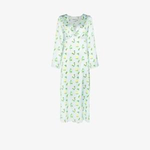 Bernadette Womens Blue Sarah Floral Print Silk Dress