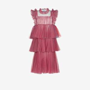 Viktor & Rolf Womens Pink Less Is More Tiered Tulle Dress