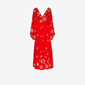 All Things Mochi Womens Red Catalina Floral Embroidery Ruched Gown