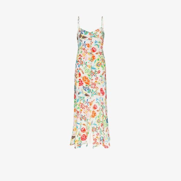 All Things Mochi Womens White Melissa Floral Print Maxi Dress